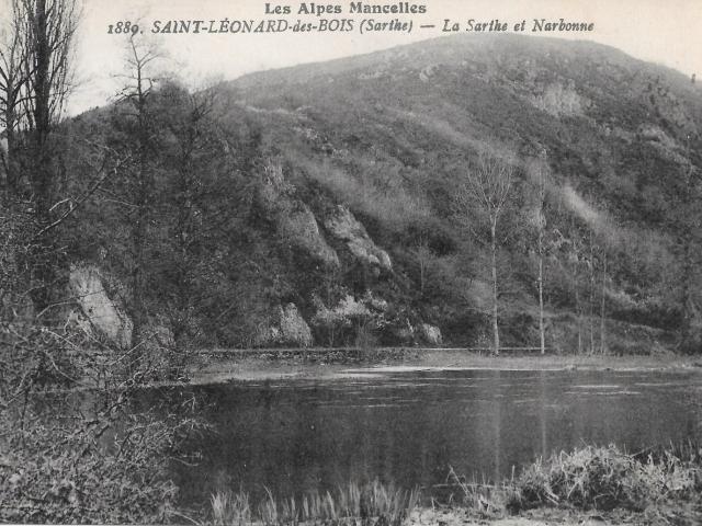 Carte postale ancienne - La Sarthe et le Mont Narbonne