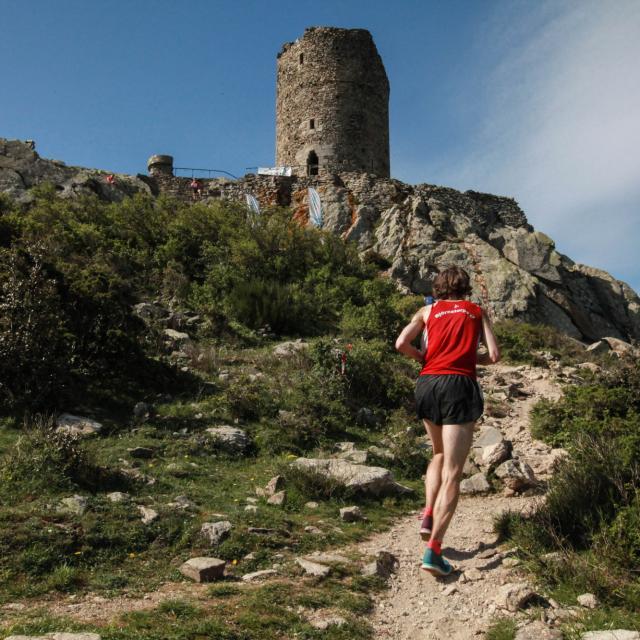 29042018, Argeles, Occitanie, France. Trail de la Massane dans les Pyrenees Orientales, sur le massif des Alberes.