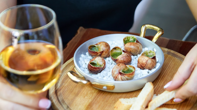 Snails and a glass of wine