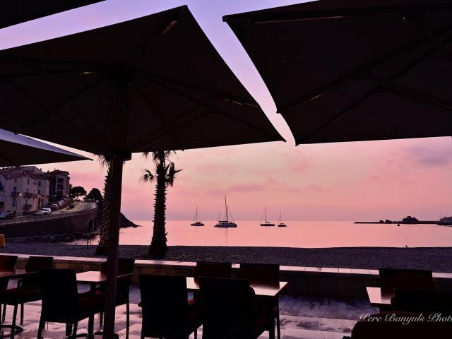 Terrasses Café Mer Méditerranée Lever Soleil