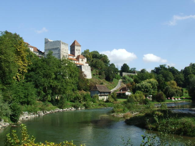 Vue de Sauveterre-de-Béarn depuis le gave