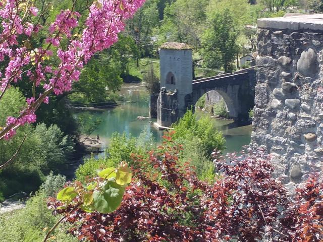 Le pont de la légende à Sauveterre-de-Béarn en Avril