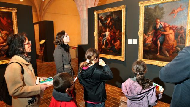 Atelier en famille autour de l'exposition Daniel Sarrabat, Monastère Royal de Brou, à Bourg en Bresse, Ain.