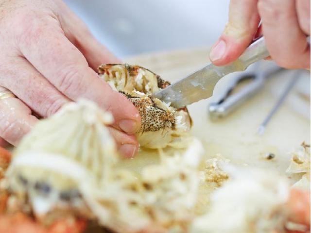 Emietté d'araignée et son coeur d'artichaut, restaurant L'Ormeau, Cancale