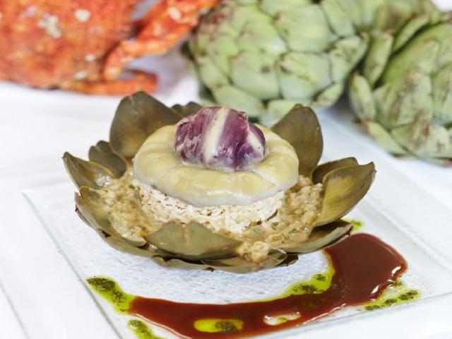 Emietté d'araignée et son coeur d'artichaut, Restaurant Les Ormeaux, Cancale