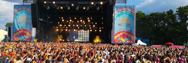 Public en liesse à un concert au Festival des Vieilles Charrues.