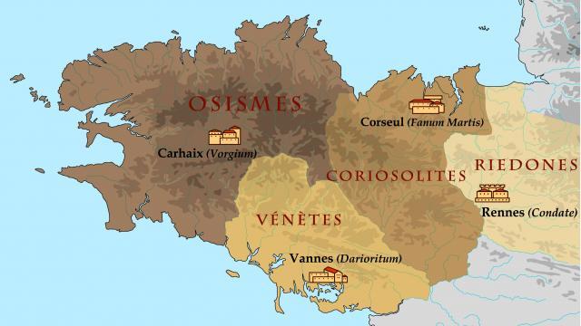 Carte des cités gallo-romaines en Bretagne