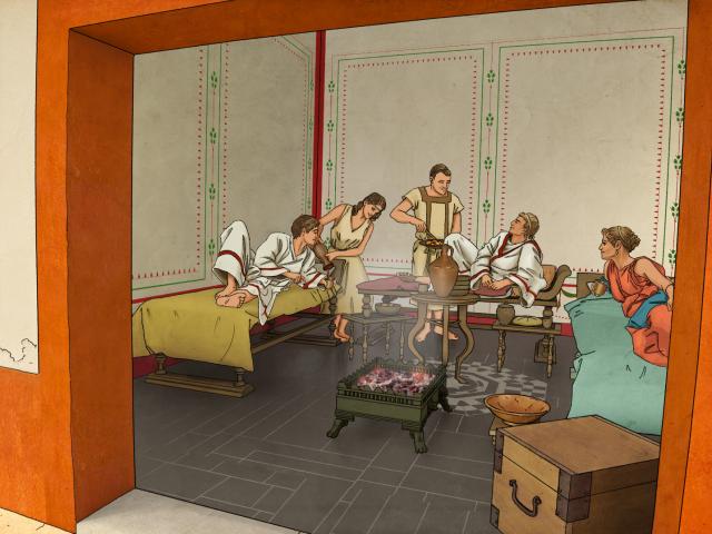 Visite en 3D d'une domus gallo-romaine avec la représentation d'un banquet au triclinium, au Centre d'Interprétation archéologique virtuelle de Vorgium à Carhaix