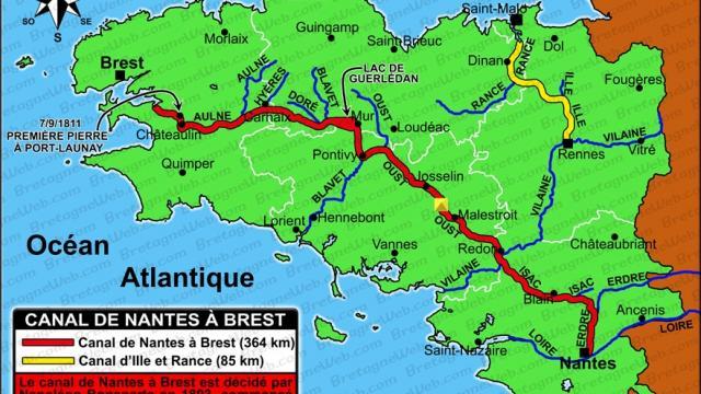 Carte de la construction du Canal de Nantes à Brest avec ses affluents, et de celui d'Ille-et-Rance