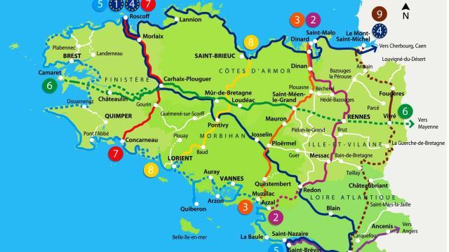 Carte du schéma des Voies Vertes en Bretagne