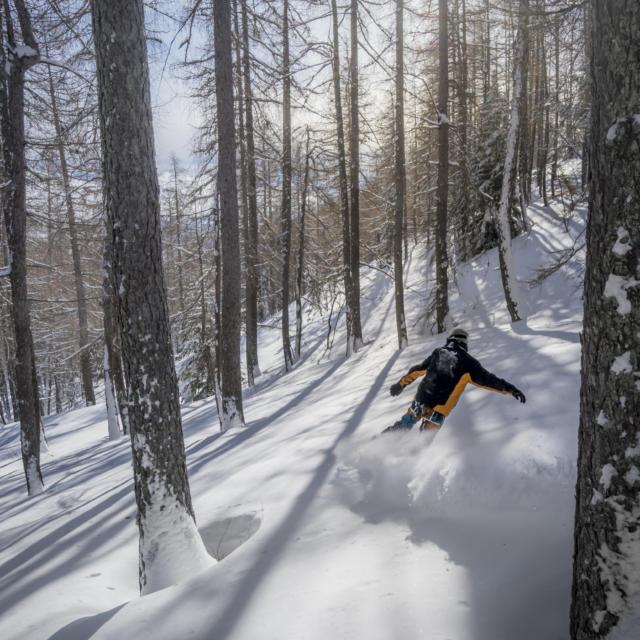 Ski hors piste à la station de Laye
