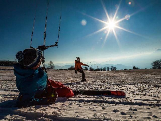 Snowkite au col de Manse