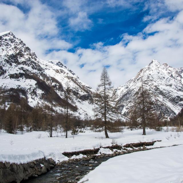Vue de la vallée de Champoléon en hiver