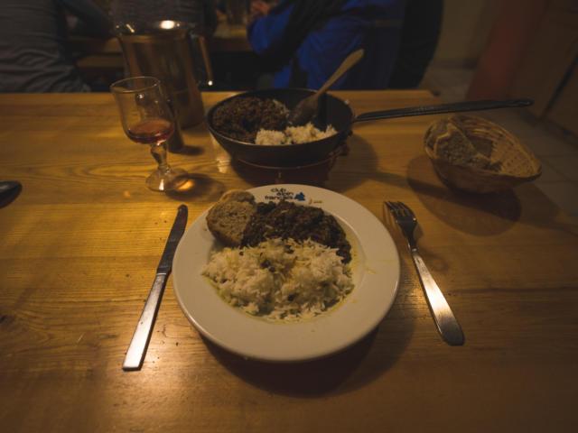 Repas du soir au refuge du Pigeonnier dans le Valgaudemar
