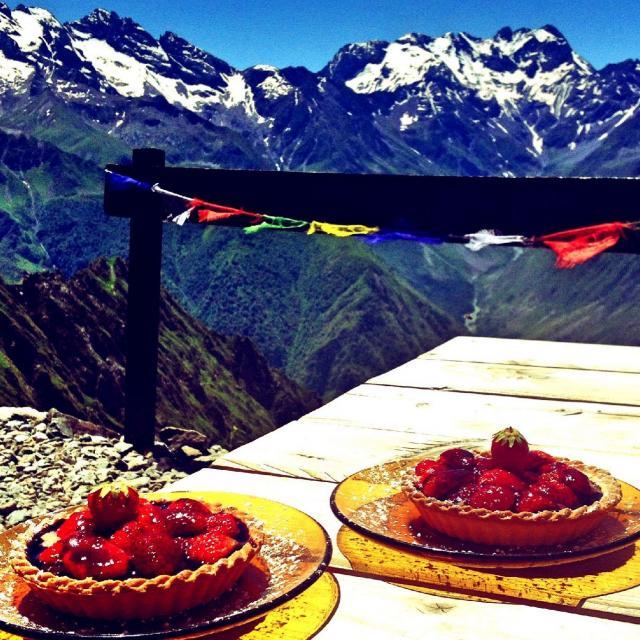 Tarte aux fraises au refuge du Mont Olan