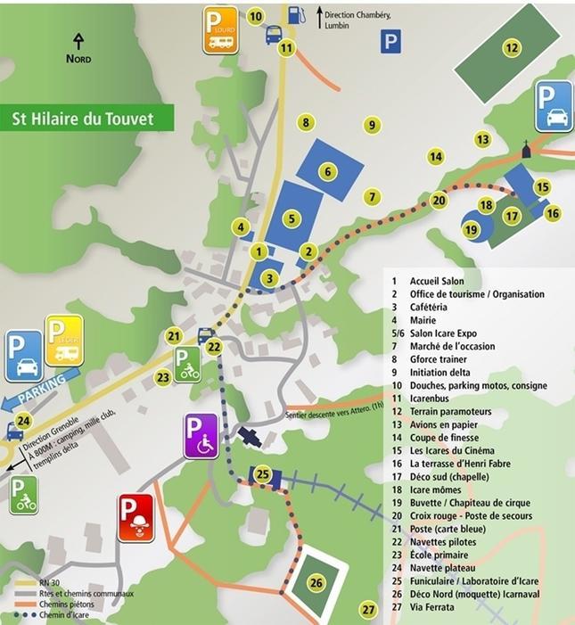 Plan parkings St Hilaire du Touvet - Coupe Icare 2015