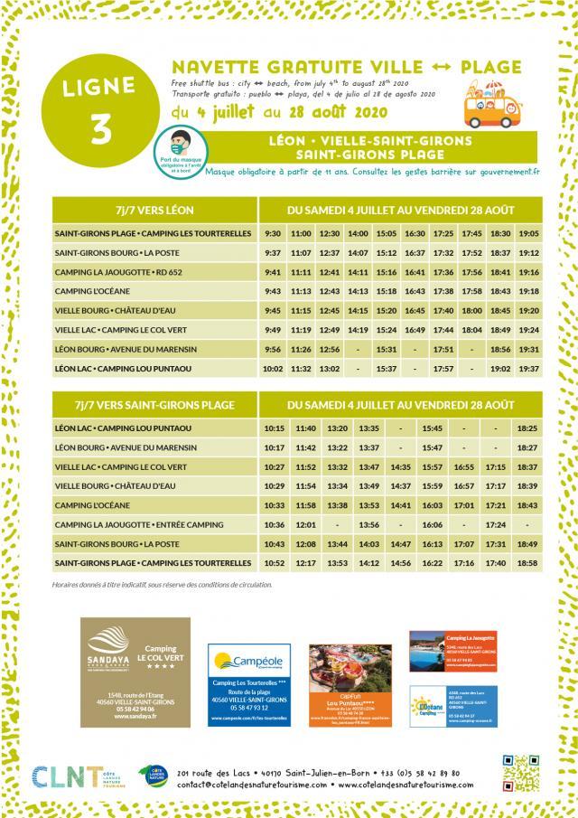 Affiche Horaires Navettes Ville Plage 2020_LIGNE 3