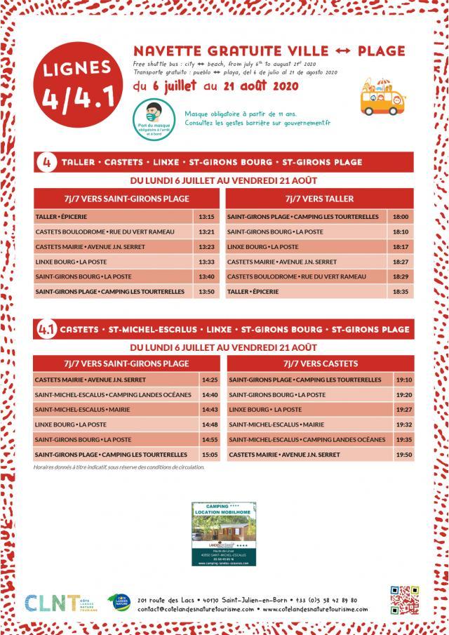 Affiche Horaires Navettes Ville Plage 2020_LIGNES 4-4.1