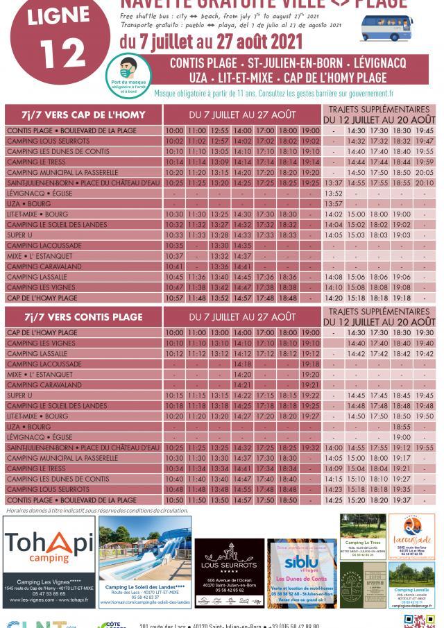 Affiche Horaires Navettes Ville Plage 2021 Ligne 12 Juillet Août