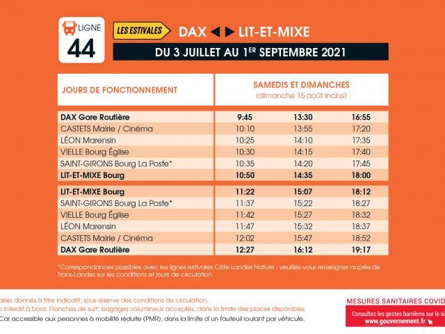 Transports Nouvelle Aquitaine Ligne44 Ete2021