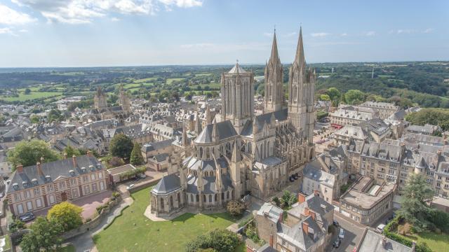Cathédrale de Coutances vue du ciel