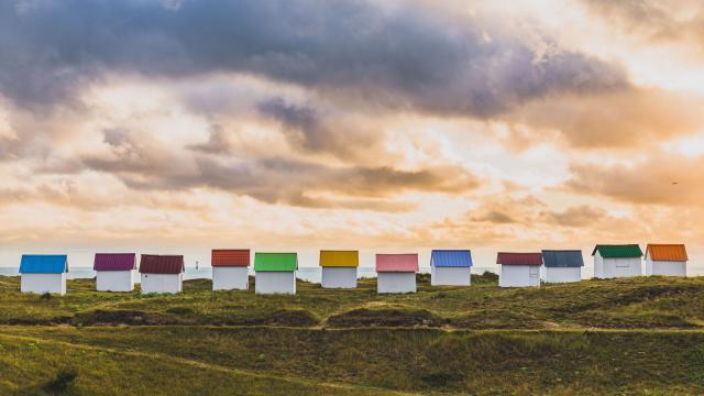 Cabines de plage de Gouville sur Mer