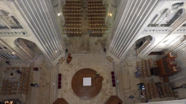 Vue sur les parties basses depuis les parties hautes de la cathédrale de Coutances