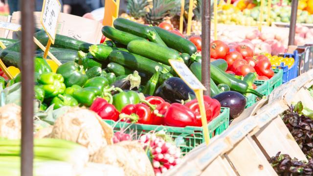 Produits du terroir sur un marché