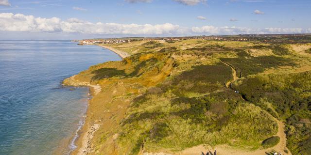 Ambleteuse _ Dunes de la Slack _ Vue aérienne sur les Dunes de la Slack et Ambleteuse © CRTC Hauts-de-France – Stéphane Bouilland