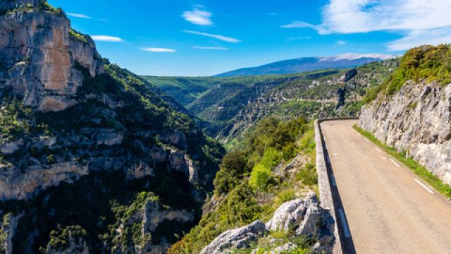Road clinging to the side of the Gorges de la Nesque in southern France