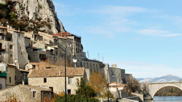 Sisteron and the bridge over river Durance