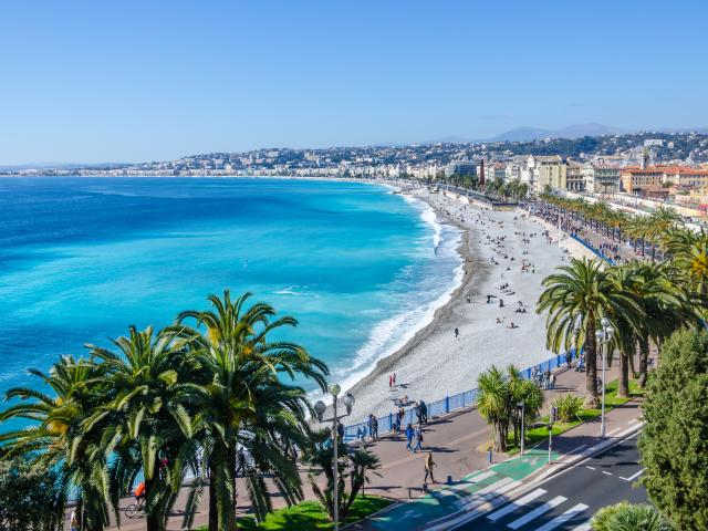 Nice visit card view on the bay of Angels, France