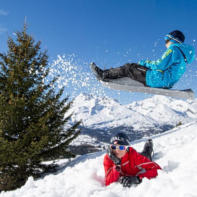 Enfants Luge Devoluy Alpes