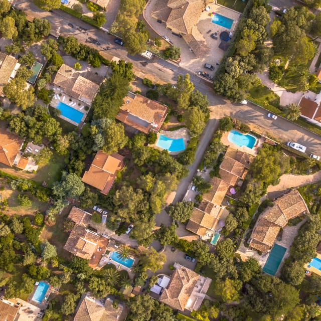 Luxury Villas with swimming pools top down aerial view in Southern France