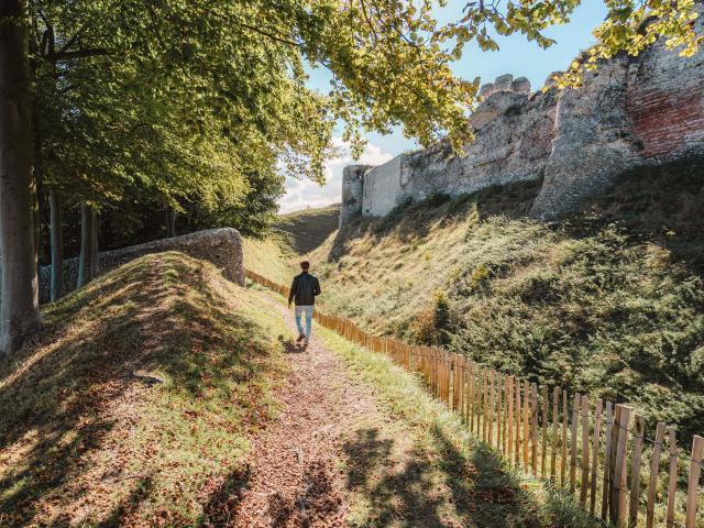 Jeune homme de dos se baladant autour des ruines du château d'Arques-la-Bataille