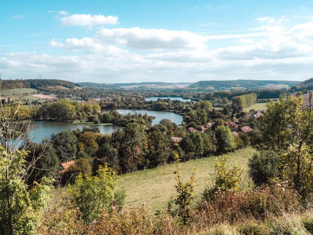 Point de vue avec des étangs, des maisons et de la verdure