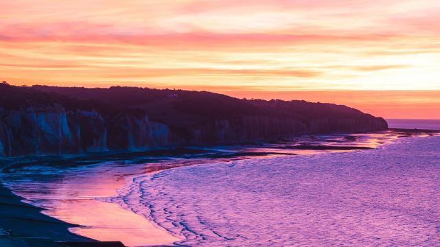 Coucher de soleil sur la plage de Pourville-sur-Mer