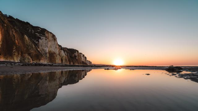 Coucher de soleil sur la plage de Dieppe