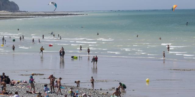 plage de Pourville-sur-Mer, commune de Hautot-sur-Mer (76) avec les falaises de craie la côte d'albâtre et du pays de Caux
