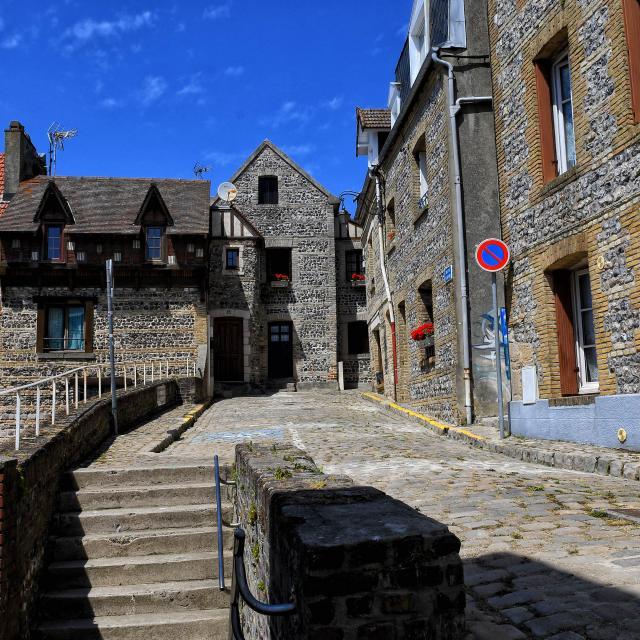 Maisons typiques de pêcheur, en grès et en silex, dans le quartier du Pollet à Dieppe