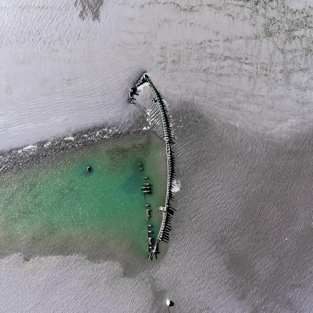 Vue aérienne d'une épave