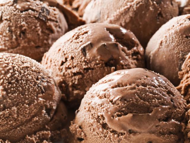 Chocolate ice cream background close up shoot