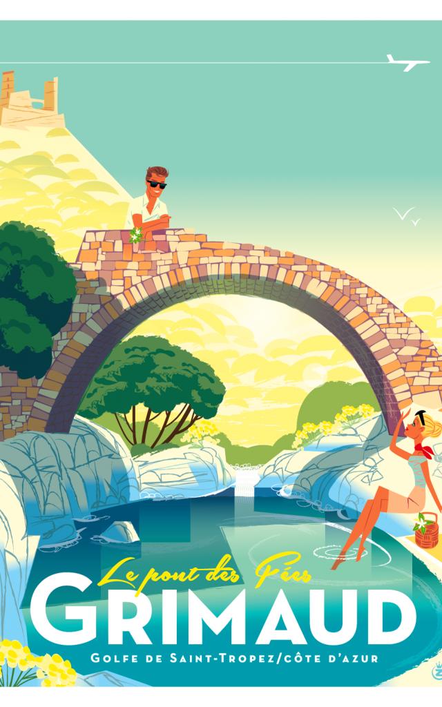 Affiche Grimaud Pont Des Fees
