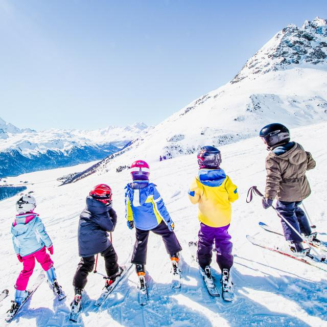 Little Skiers on the Swiss Alps