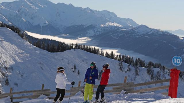 Skieurs au Collet en hiver
