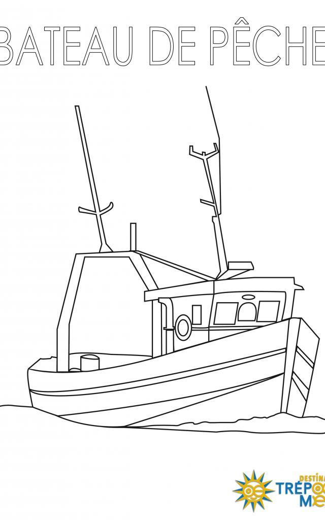 Bateau De Pêche Coloriage