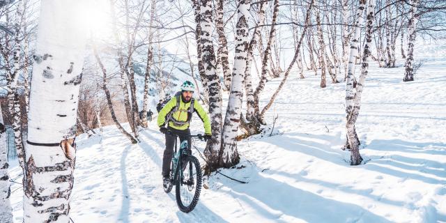 Sortie VTTAE l'hiver dans la fôret aux 2 Alpes