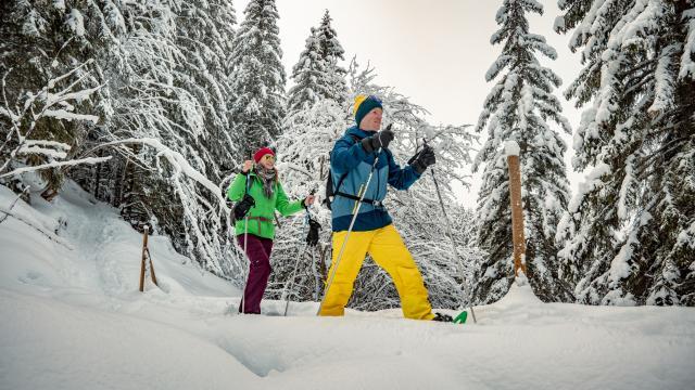 Balade en raquettes à neige aux 7 Laux