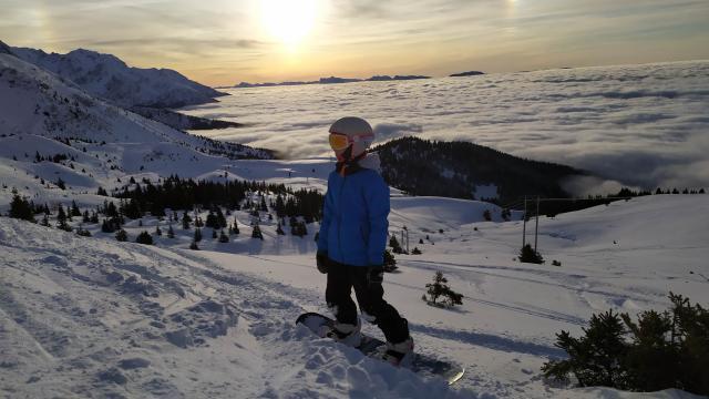 Notre ambassadrice Anouk en Snow Board aux 7 Laux