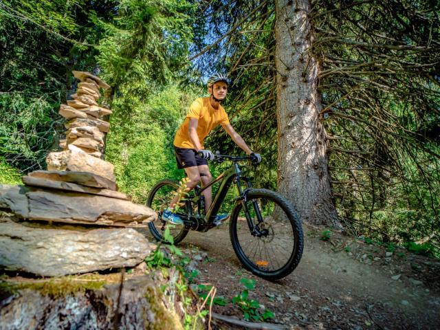 Garçon en vélo dans la forêt aux 7 Laux en été